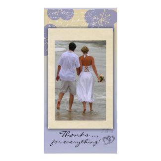 El boda de playa le agradece tarjeta de la foto tarjeta personal