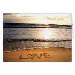 El boda de playa le agradece tarjeta de nota