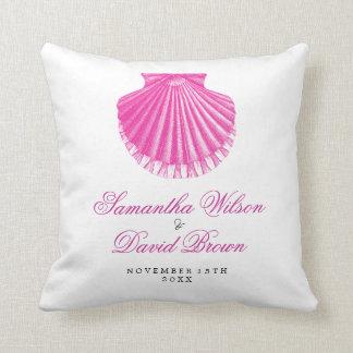 El boda de playa nombra el rosa de Shell de concha Almohada