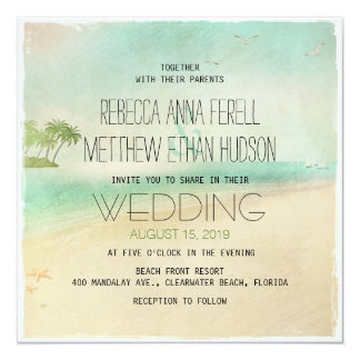 """El boda de playa pacífico del vintage retro artsy invitación 5.25"""" x 5.25"""""""