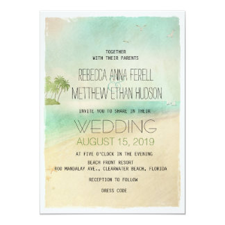 """El boda de playa pacífico del vintage retro artsy invitación 5"""" x 7"""""""