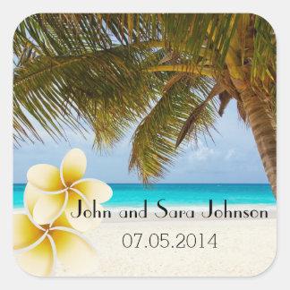 El boda de playa para Sr. y la señora el | Pegatina Cuadrada