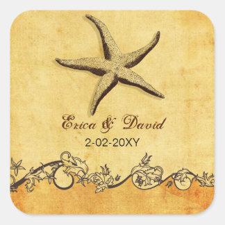 el boda de playa rústico de las estrellas de mar pegatina cuadrada