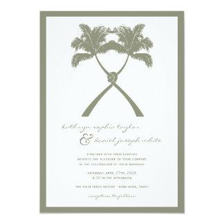 """El boda de playa tropical anudado de las palmeras invitación 5"""" x 7"""""""