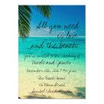 """El boda de playa tropical de la Florida invita Invitación 5"""" X 7"""""""