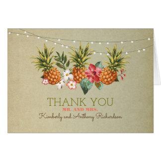 el boda de playa tropical de la piña le agradece tarjeta pequeña