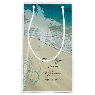 El boda de playa tropical le agradece bolsa de regalo pequeña