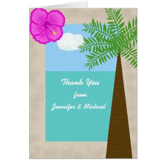 El boda de playa tropical le agradece cardar tarjeta pequeña