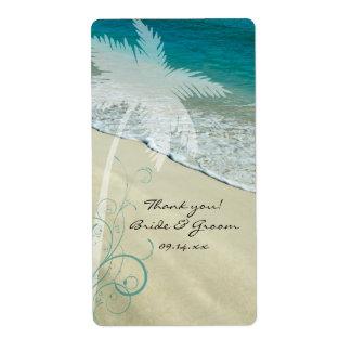 El boda de playa tropical le agradece etiquetar etiqueta de envío