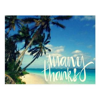 El boda de playa tropical le agradece las postales