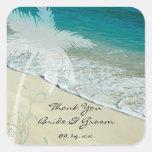 El boda de playa tropical le agradece los pegatina