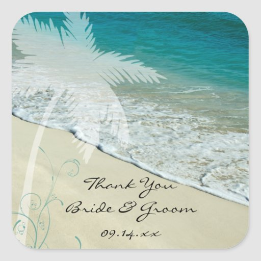 El boda de playa tropical le agradece los calcomania cuadradas personalizada