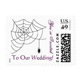 El boda de Spiderweb invita Sello Postal