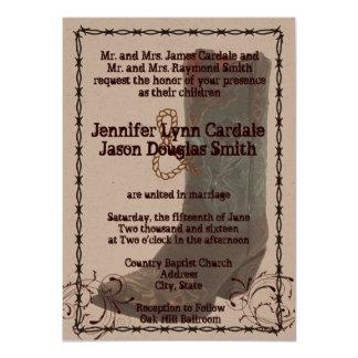 """El boda del alambre de púas de las botas de invitación 4.5"""" x 6.25"""""""