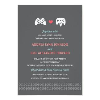El boda del amor del regulador del videojugador invitación 12,7 x 17,8 cm