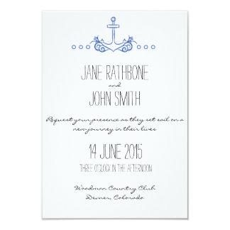 El boda del ancla invita invitación 8,9 x 12,7 cm