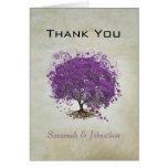 El boda del árbol de la hoja de Purple Heart le ag Felicitacion