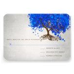 El boda del árbol de la hoja del corazón del azul  invitaciones personalizada