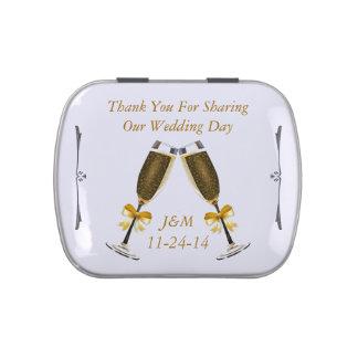 El boda del arco del oro de 2 vidrios de Champán l Latas De Caramelos