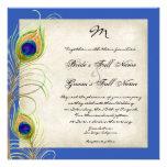 El boda del azul real de las plumas del pavo real  invitacion personal