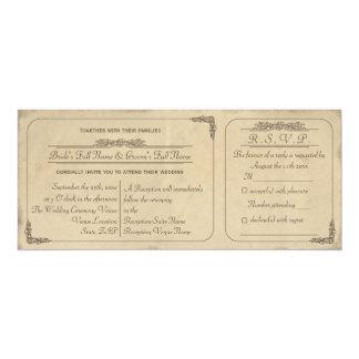 El boda del boleto del pergamino del vintage comunicados