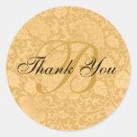 El boda del brocado del oro le agradece etiquetas redondas