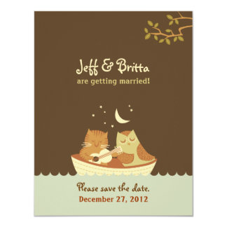 El boda del búho y del minino ahorra la fecha invitación 10,8 x 13,9 cm