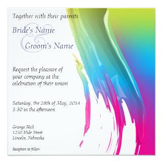 El boda del chapoteo de la pintura del arco iris invitación personalizada