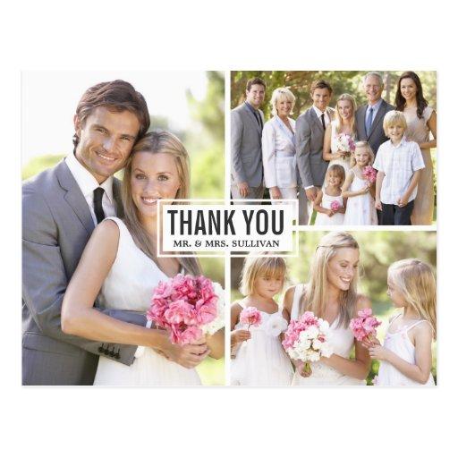 El boda del collage de tres fotos le agradece post tarjeta postal