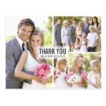 El boda del collage de tres fotos le agradece tarjeta postal