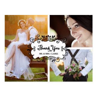 El boda del collage de tres fotos le agradece tarjetas postales