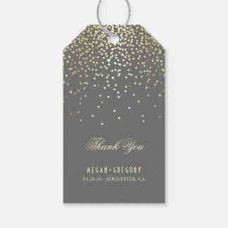 El boda del confeti del oro le agradece etiquetas para regalos