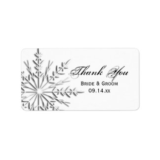 El boda del copo de nieve le agradece etiquetar etiqueta de dirección