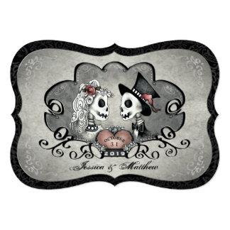 """El boda del corazón de los esqueletos negro gris y invitación 5"""" x 7"""""""