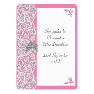 El boda del cordón del rosa en colores pastel y tarjetas de visita grandes
