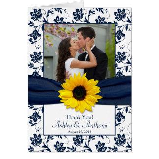El boda del damasco de la marina de guerra del gir tarjeta de felicitación