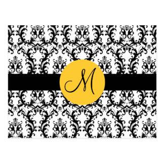 El boda del damasco del monograma le agradece card tarjeta postal