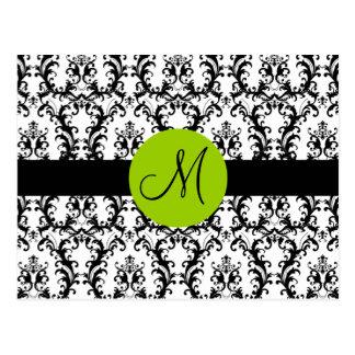 El boda del damasco del monograma le agradece card tarjetas postales