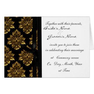 El boda del damasco del oro invita tarjeta de felicitación