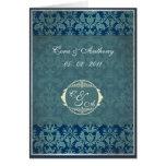 El boda del damasco del vintage de la marina de gu felicitación