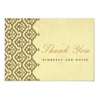 El boda del damasco del vintage le agradece cardar comunicado personalizado