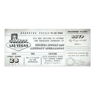 """el boda del documento de embarque marca LAS VEGAS Invitación 4"""" X 9.25"""""""