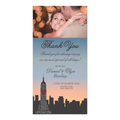 El boda del edificio de Nueva York le agradece tar Tarjeta Fotográfica Personalizada