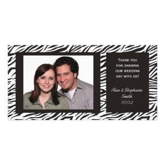 El boda del estampado de zebra le agradece las tar tarjetas fotográficas personalizadas