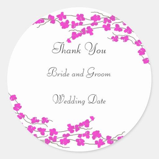 El boda del flor de las rosas fuertes le agradece pegatina redonda