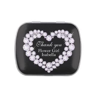 El boda del florista del corazón del diamante le a jarrones de caramelos