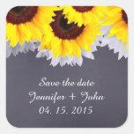 El boda del girasol de la pizarra marca sunflwr2 calcomania cuadradas personalizada