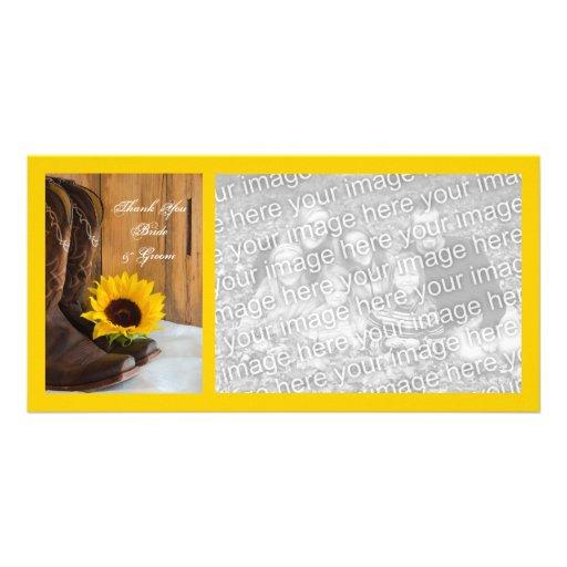 El boda del girasol del país le agradece tarjeta d tarjeta fotográfica personalizada