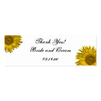 El boda del girasol le agradece favorecer etiqueta tarjeta de visita