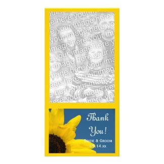 El boda del girasol y del cielo azul le agradece tarjeta personal